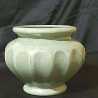 "Vintage HAEGER Vase/ Planter Speckled Green Glaze Fluted 5-1/2"" Tall Preowned"