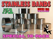 "Duck Call Band Polished Stainless 1.25"" Od X 1.17"" Id X .5"" Special 10-Pack"