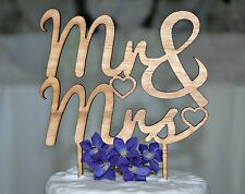 Wooden Rustic Mr & Mrs Wedding Cake Topper, with a Tasmanian Oak finish. Love