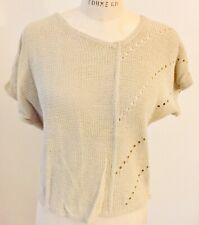Vintage Womens Chaus Cap Sleeve Sweater Asymetrical Design Beige  1970s NWT