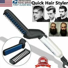Men Hair Straightener Curling Curler Electric Brush Beard Comb Quick Hair Styler