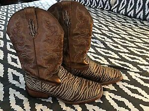 Roper USA Cowboy Boots 6.5  Womens Zebra Style Glitter Western Boots