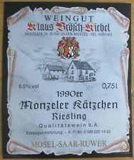 Etiquettes vin ALLEMAGNE Klaus Brosch-Kiebel Monzeller Katschen Ries wine labels