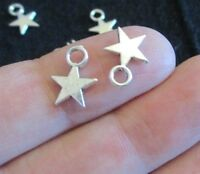 Pack of 100 Antique Silver Tone Mini Star Charms Wish Believe 11 x 9mm