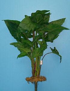 "Quality 17"" Small Caladium Lily Leaf & Moss Artificial Faux Silk Bush"