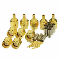 10pcs SMA Male Crimp RF Connector Gold-Plating for RG316 RG174 Cable