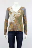 ETRO Milano Silk Cashmere Sweater Jumper Paisley Floral Print Sz S Made in Italy