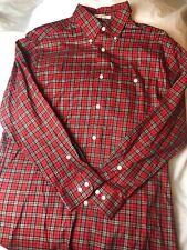 Orvis Red Plaid Striped Pocket Cotton Button Down Shirt Men's Size M