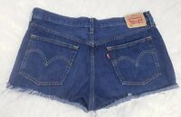 "Vintage 501 Levis Shorts Cutoff Jean Shorts Womens 32"" Dark Wash Button Fly"
