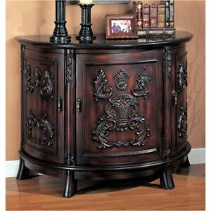 Bombe Chest in Antique Cherry with Black Marble Top And Bold Carving