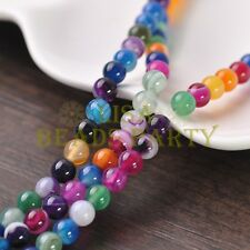 50pcs 6mm Round Natural Stone Loose Gemstone Beads Mixture S Agate