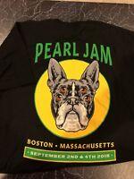 Pearl Jam Boston Terrier XL T Shirt 2018 September 2, Sept 4 Fenway Park