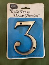 """NEW Baldwin Premium 5"""" House Number 3 Solid Forged Brass   Auction 1"""