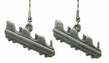 PEWTER ROLLER COASTER CAR DANGLE EARRINGS (D106)