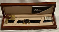 Belair Women's Swiss Two-toned Gold Silver Black Leather Band Wrist Watch A4144