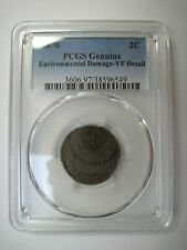 Circulated Copper 1870 Two Cent Piece PCGS Certified Graded  Genuine VF Details