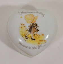 """3"""" Holly Hobbie Ceramic Porcelain Heart Jewelry Trinket Box Someone To Care For"""