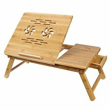 Bamboo Bed Tray Table Height Adjustable Home Bedroom Lap Desk Laptop Holder