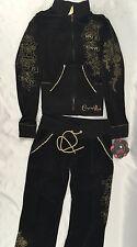 Crystal Rock Christian Audigier Jacket Sweat Pants Velour Black CRW127 Size M