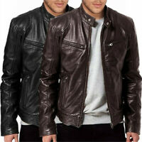 Men Vintage Cool Jacket Leather Long Sleeve Autumn Winter Stand Collar Club Coat