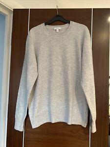 The White Company Woman Merino & Cashmere Mix Soft Pale Grey Jumper Size L