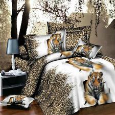 3D Tiger Duvet Cover Sheet Linen Pillowcase Bedding Set Double Queen New