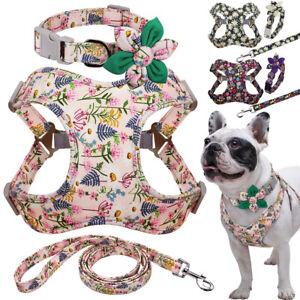 Floral Dog Lead Collar and Harness Set Soft Walking Vest Adjustable Bulldog SML