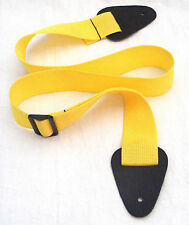 NEW YORK PRO YELLOW POLYPRO GUITAR STRAP-LEATHER ENDS-NEW!!