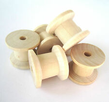10x 2cm unfinished natural wooden spools bobbins reels for ribbons cottons