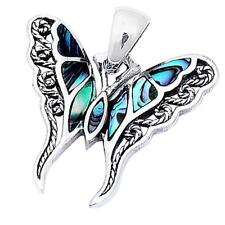 """Abalone Shell Filigree Butterfly .925 Sterling Silver Pendant 1""""Long"""