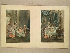 18th Century Lesbian Erotic Chambermaid Ladies Voyeur FRANCE Watermarked Gravure