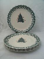 "Tienshan WINTER WONDERLAND Set of 4-7 5/8"" Salad Plates Christmas Spongeware EC"