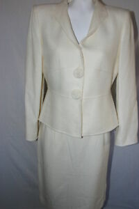 Tahari Women's Ivory Suit Set Blazer Jacket Skirt Business Work Petite Size 10P