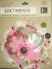 K & Company Handmade Fabric Art Floral Cuts outs buttons ScrapbooK Pack