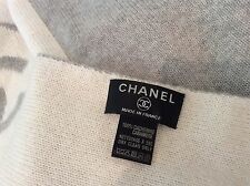 "Chanel France New 100% Cashmere Blanket Throw 70""x 65"" White/Grey Large"