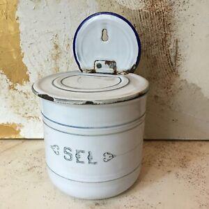 Pot à Sel Vintage 50' Tôle Emaillée Rétro Cuisine Enamel