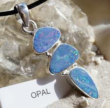 8c7c93489f8e Colgante de Collar Plata Ópalo Boulder Colores Eirig Ovalo Sencillo Azul