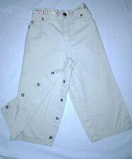 Carter's Girl's Snap Up Elastic Waistband Floral Khaki Pants Size 24 Months