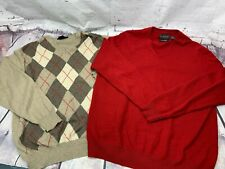Lot of 2 Hathway Platinum & Black Brown 100% Cashmere Sweaters L XL