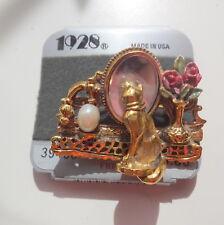 Vtg Signed 1928 Designe Cat By Vanity Perfume Shaving Mirror Table Pin Brooch