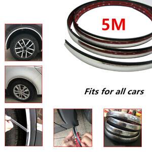 5M Car Silver Wheel Rubber Eyebrow Protector Lip Arch Trim Fender Strip Moulding
