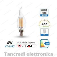 Lampadina led V-TAC 4W = 40W E14 bianco naturale 4500K VT-1997 fiamma filamento