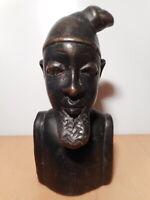 Sculpture statue ancienne bois buste tete homme barbu art populaire