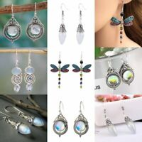 Retro Women Retro Silver Gemstone Ear Dangle Drop Hook Earrings Jewelry Gifts