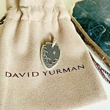 David Yurman $395 Sterling Silver Men's Waves Shield Pendant 35mm Authentic