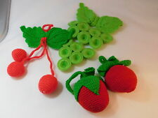 Hand Made Crocheted Red Green Fruit Apple Strawberry Cherry Grapes Ornaments