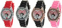 BETTY BOOP Authentic Round Face Crystal Bezel Silicon Band Watch