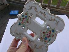 """RARE Vintage Antique 5.5"""" Porcelain Light Switch Cover Outlet Double Plates 7311"""
