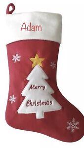 Personalised Christmas Stocking Embroidered Santa Reindeer Snowman Tree Nordic