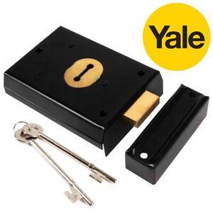 YALE RIM DEADLOCK Black Brass Victorian Indoor Garden Shed Gate Lock + 2 Keys